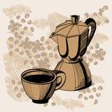 Schets van mochakoffiezetapparaat en koffiekop vector illustratie