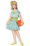 Schets van Mooi meisje met boek Stock Afbeelding