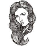 Schets van mooi vrouwelijk gezicht Stock Fotografie