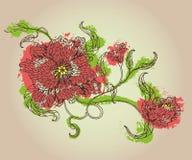 Schets van mooie de lentebloemen met knoppen en bladeren Stock Foto