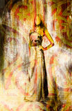 Schets van mystieke vrouw en mooie sierachtergrond stock illustratie