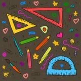 Schets van onderwijs doddle elementen op notitieboekje Stock Afbeelding