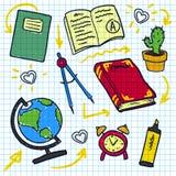 Schets van onderwijs doddle elementen op notitieboekje Stock Fotografie