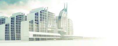 Schets van ontwerp commercieel centrum. Royalty-vrije Stock Afbeelding