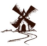 Schets van oude molen vector illustratie