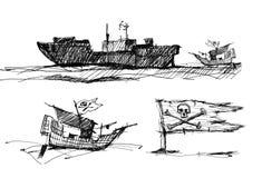 Schets van piraten op het overzees Royalty-vrije Stock Afbeelding