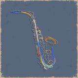 Schets van saxofone op grungedocument Stock Afbeelding