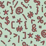 Schets van speciale symbolen Naadloos vectorpatroon Stock Foto