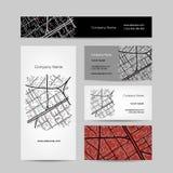 Schets van stadskaart, adreskaartjeontwerp vector illustratie