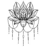 Schets van tatoegering Lotus - Boeddhisme Royalty-vrije Stock Afbeeldingen