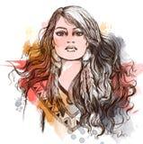 Schets van tatoegeringskunst, portret van mooi Indiaanmeisje Stock Afbeeldingen