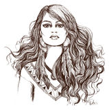 Schets van tatoegeringskunst, portret van mooi Indiaanmeisje Stock Afbeelding