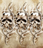 Schets van tatoegeringskunst, schedels Royalty-vrije Stock Foto's