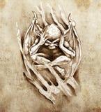 Schets van tatoegeringskunst, woedemonster Royalty-vrije Stock Foto