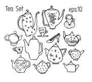 Schets van theepotten, kop en schotels in grappige stijl worden gemaakt die Stock Afbeelding