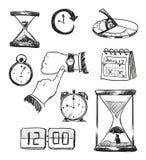 schets van tijdsymbolen Tijdpictogrammen royalty-vrije illustratie