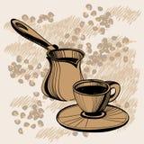 Schets van Turkse cezve en koffiekop Stock Foto