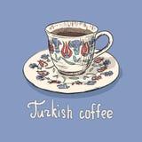 Schets van Turkse kop van koffie stock afbeelding