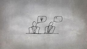 Schets van twee mensen het spreken stock illustratie