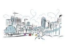 Schets van verkeersweg in stad voor uw ontwerp Stock Afbeelding