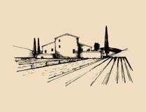 Schets van villa, boerenhuis op gebieden Vector landelijke landschapsillustratie Hand getrokken mediterrane hoeve Royalty-vrije Stock Fotografie