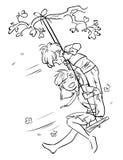Schets van weinig jongen en meisje op een schommeling Royalty-vrije Stock Afbeelding