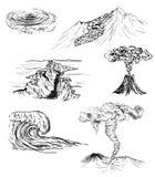 Schets van zes natuurrampen Royalty-vrije Stock Fotografie