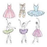 Schets vectorbeelden van verschillende balletdansers Hand getrokken illustraties van ballerina's stock illustratie