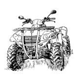 Schets vectorillustratie, het silhouet van de vierlingfiets, ATV-embleemontwerp op een witte achtergrond Stock Afbeelding