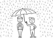 Schets vectorillustratie, twee beeldverhaalmensen onder paraplu Royalty-vrije Stock Foto's