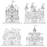 Schets voor middeleeuwse kastelen en vesting royalty-vrije illustratie
