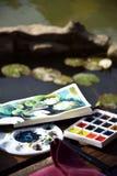 Schets, waterverfillustratie met kleurrijke verven royalty-vrije stock fotografie