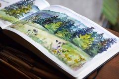 Schets, waterverfillustratie met kleurrijke verven, het schilderen, kunst, sketchbook royalty-vrije stock afbeelding