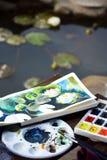 Schets, waterverfillustratie met kleurrijke verven, het schilderen, kunst, sketchbook stock foto's