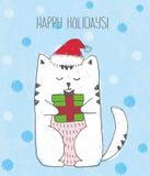 Schets witte kat met hoed en het heden van Santa Claus de rode Blauwe achtergrond met sneeuwvlokken stock illustratie