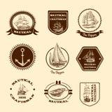 Schets zeevaartemblemen Stock Afbeelding