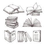 Schetsboeken Inkt die uitstekende open boek en boekenstapel trekken Schoolonderwijs en bibliotheekkrabbel vectorsymbolen royalty-vrije illustratie