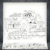 Schetsen van bedrijfsgrafieken en grafieken Stock Foto's