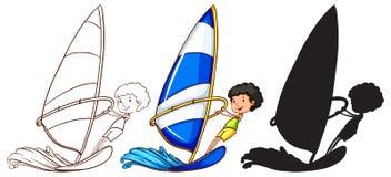 Schetsen van een jongen die met de golven in drie kleuren spelen Stock Foto's