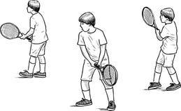 Schetsen van een speeltennis van de tienerjongen Stock Afbeelding