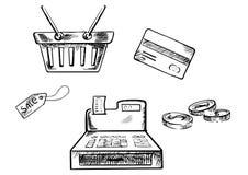 Schetsen van het winkelen pictogrammen en symbolen Royalty-vrije Stock Foto's