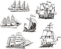 Schetsen van varende schepen Royalty-vrije Stock Foto's
