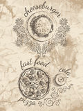 Schetsen voor menu van voedsel Stock Fotografie