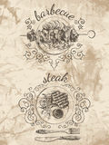 Schetsen voor menu van voedsel stock illustratie