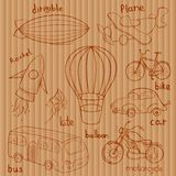 Schetsentransportmiddelen, vectorillustratie stock illustratie