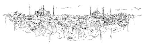 Schetshand die het panoramische silhouet van Istanboel trekken Vector Illustratie