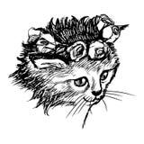 Schetsillustratie uit de vrije hand van weinig kat, katje Stock Foto
