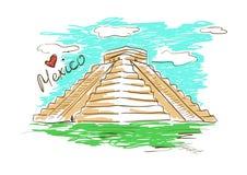 Schetsillustratie van Mayan Piramide van Chichen Itza in Mexico royalty-vrije illustratie