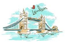 Schetsillustratie van Torenbrug in Londen Stock Foto's