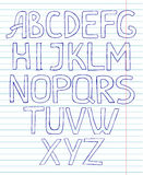 Schetsmatig alfabet op voorbeeldenboekachtergrond Stock Foto
